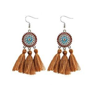 Tassel Earrings Tan